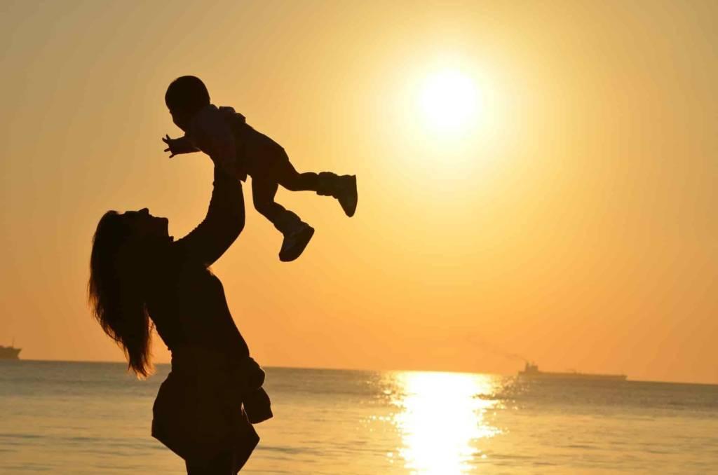 matka, dziecko, kobieta, zachód słońca